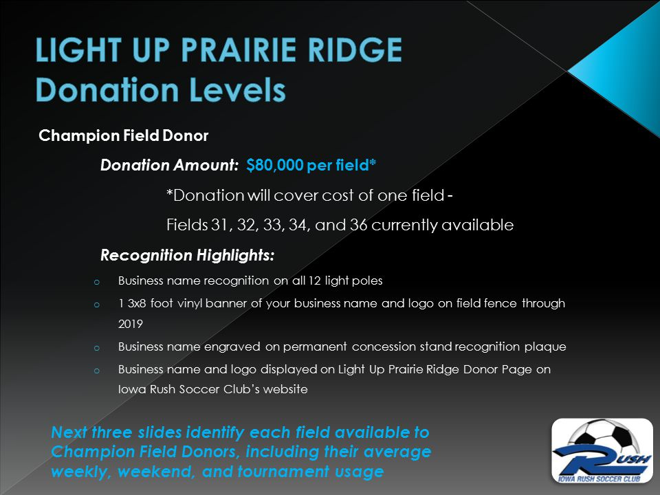 Champion Field Donor Donation Amount: $80,000 per field* *Donation will cover cost of one field - Fields 31, 32, 33, 34, and 36 currently available Recognition Highlights: o Business name recognition on all 12 light poles o 1 3x8 foot vinyl banner of your business name and logo on field fence through 2019 o Business name engraved on permanent concession stand recognition plaque o Business name and logo displayed on Light Up Prairie Ridge Donor Page on Iowa Rush Soccer Club's website Next three slides identify each field available to Champion Field Donors, including their average weekly, weekend, and tournament usage