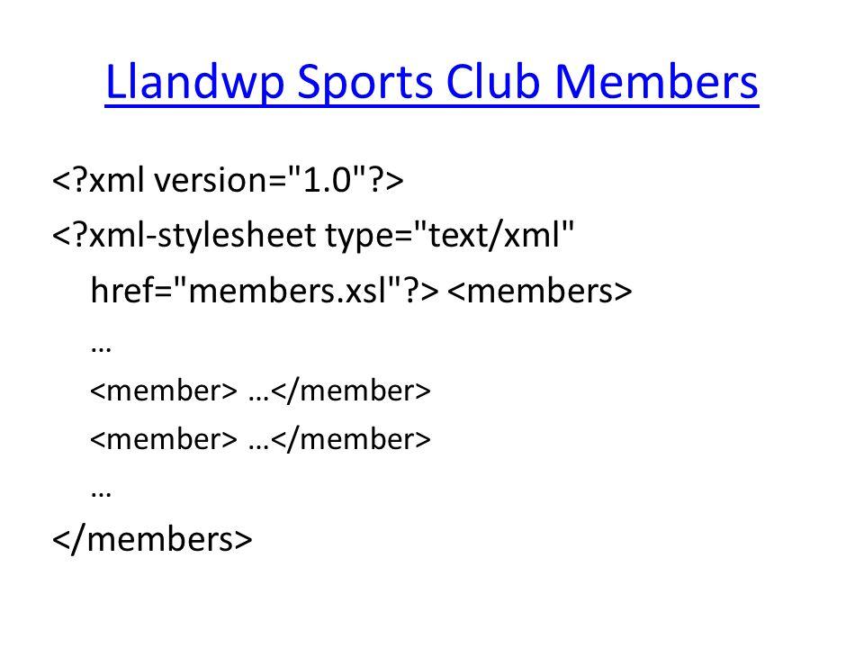 Llandwp Sports Club Members < xml-stylesheet type= text/xml href= members.xsl > …