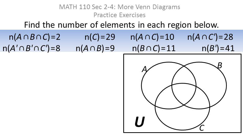Find the number of elements in each region below. MATH 110 Sec 2-4: More Venn Diagrams Practice Exercises U A B n(A ∩ B ∩ C) = 2 n(C) = 29 n(A ∩ C) =