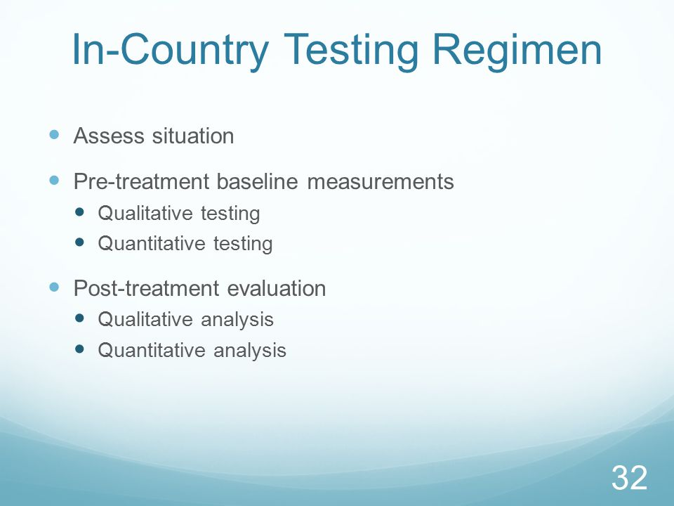 In-Country Testing Regimen Assess situation Pre-treatment baseline measurements Qualitative testing Quantitative testing Post-treatment evaluation Qualitative analysis Quantitative analysis 32