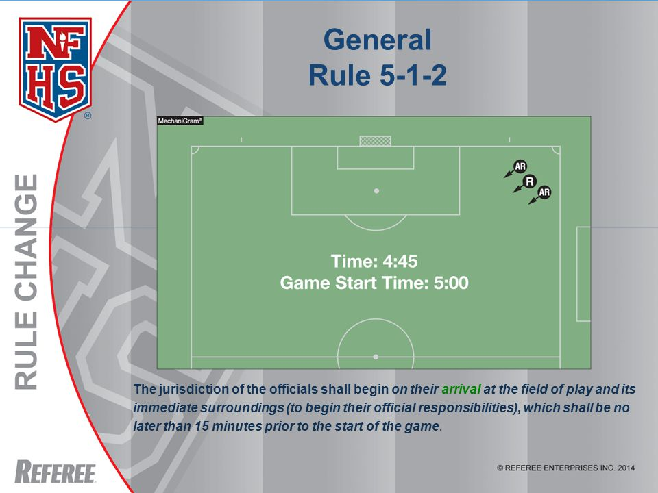 General Rule 5-1-2 The jurisdiction of the officials shall begin on their arrival at the field of play and its immediate surroundings (to begin their official responsibilities), which shall be no later than 15 minutes prior to the start of the game.