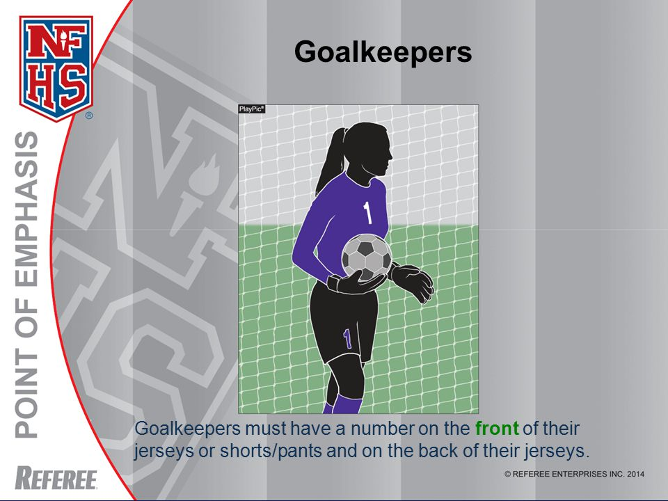 Goalkeepers must have a number on the front of their jerseys or shorts/pants and on the back of their jerseys.