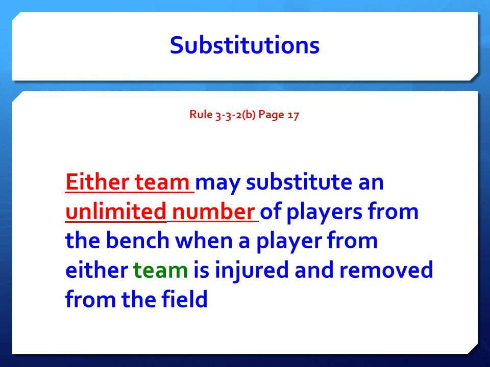 Substitutions Rule 3-3-2(b) Page 17 Either team may substitute an unlimited number of players from the bench when a player from either team is injured and removed from the field