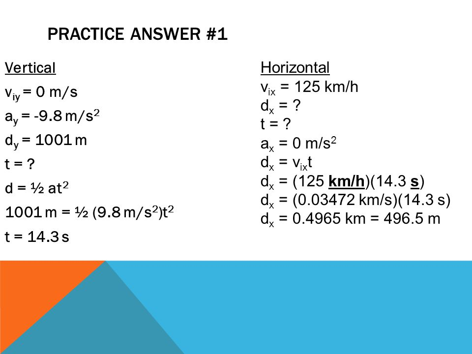 PRACTICE ANSWER #1 Vertical v iy = 0 m/s a y = -9.8 m/s 2 d y = 1001 m t = ? d = ½ at 2 1001 m = ½ (9.8 m/s 2 )t 2 t = 14.3 s Horizontal v ix = 125 km