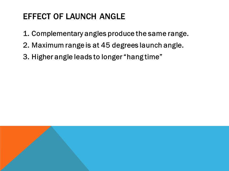 """EFFECT OF LAUNCH ANGLE 1.Complementary angles produce the same range. 2.Maximum range is at 45 degrees launch angle. 3.Higher angle leads to longer """"h"""