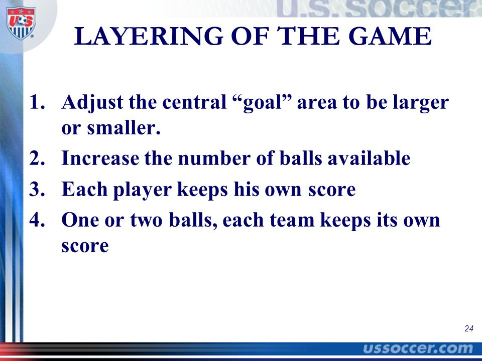 """24 LAYERING OF THE GAME 1.Adjust the central """"goal"""" area to be larger or smaller. 2.Increase the number of balls available 3.Each player keeps his own"""