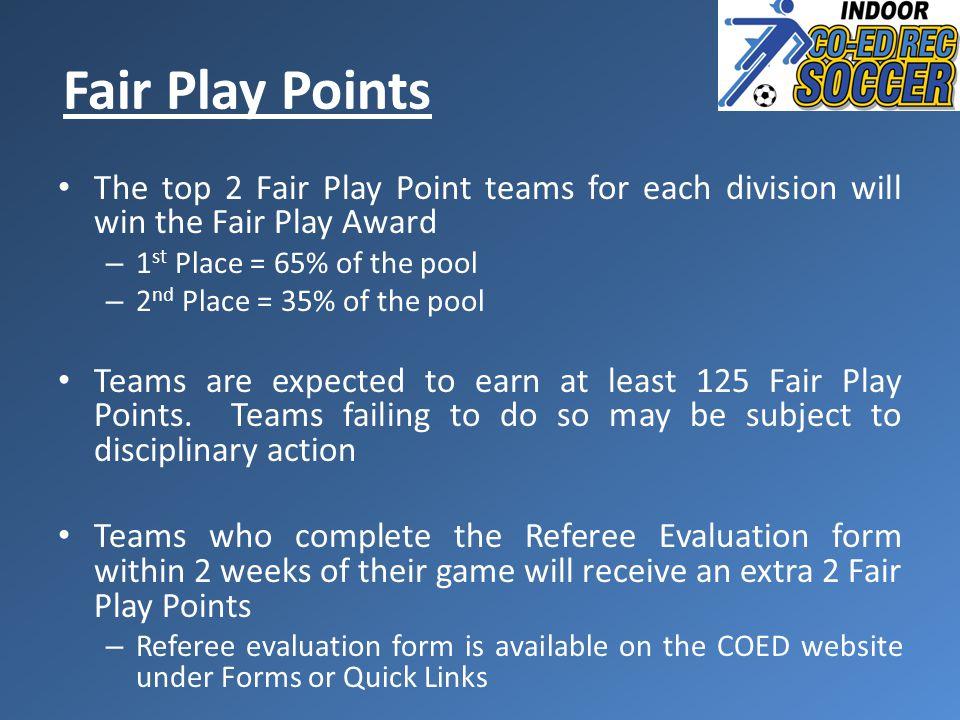 Fair Play Points The top 2 Fair Play Point teams for each division will win the Fair Play Award – 1 st Place = 65% of the pool – 2 nd Place = 35% of the pool Teams are expected to earn at least 125 Fair Play Points.
