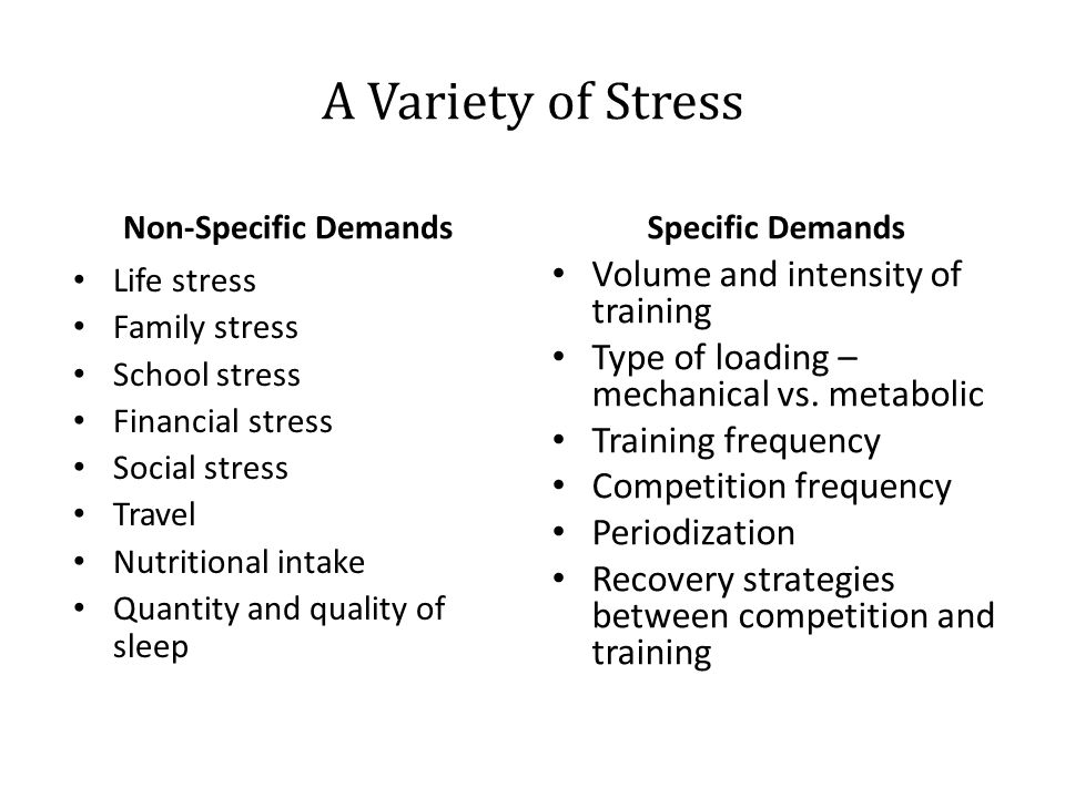 A Variety of Stress Non-Specific DemandsSpecific Demands Life stress Family stress School stress Financial stress Social stress Travel Nutritional int