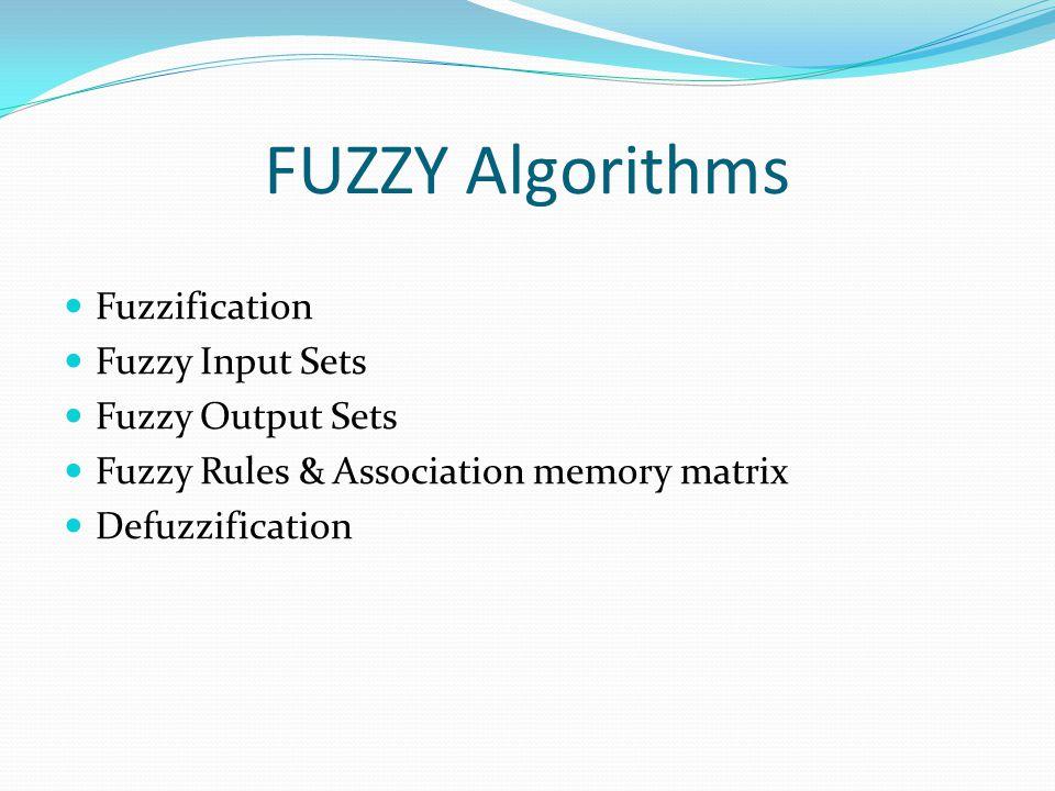 FUZZY Algorithms Fuzzification Fuzzy Input Sets Fuzzy Output Sets Fuzzy Rules & Association memory matrix Defuzzification