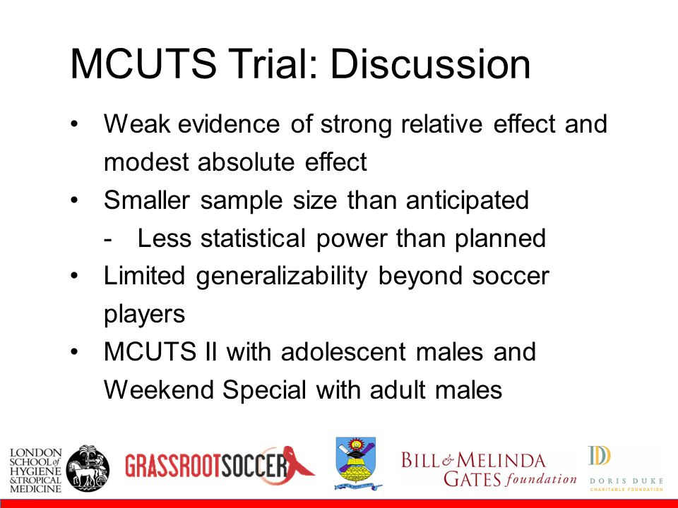 Round 1Round 2 MCUTS Trial: Discussion Weak evidence of strong relative effect and modest absolute effect Smaller sample size than anticipated  Less statistical power than planned Limited generalizability beyond soccer players MCUTS II with adolescent males and Weekend Special with adult males