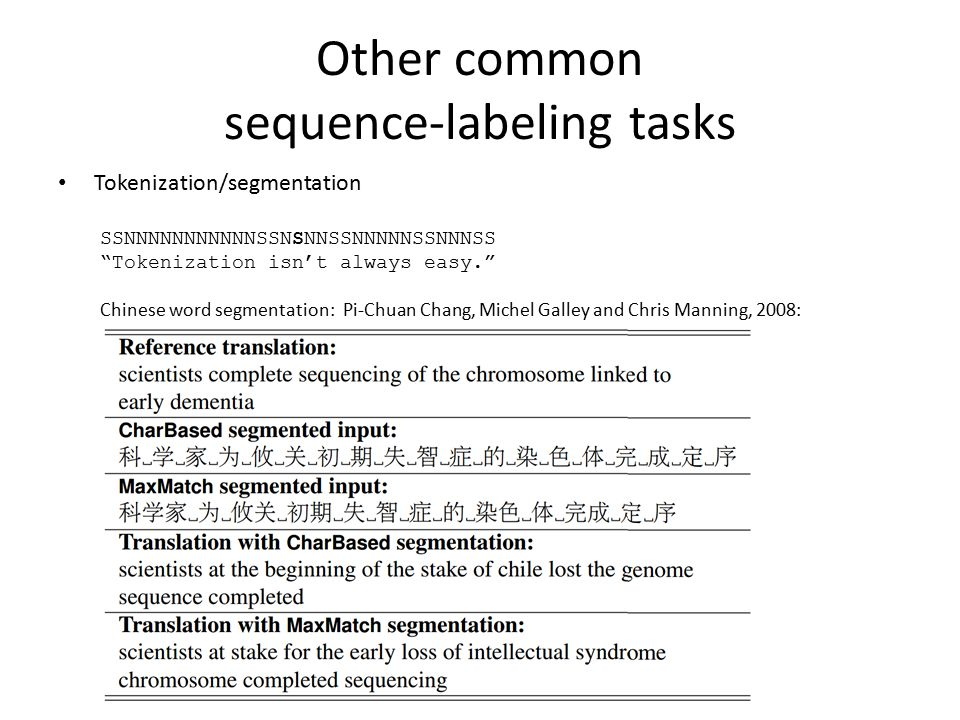 "Other common sequence-labeling tasks Tokenization/segmentation SSNNNNNNNNNNNSSNSNNSSNNNNNSSNNNSS ""Tokenization isn't always easy."" Chinese word segmen"