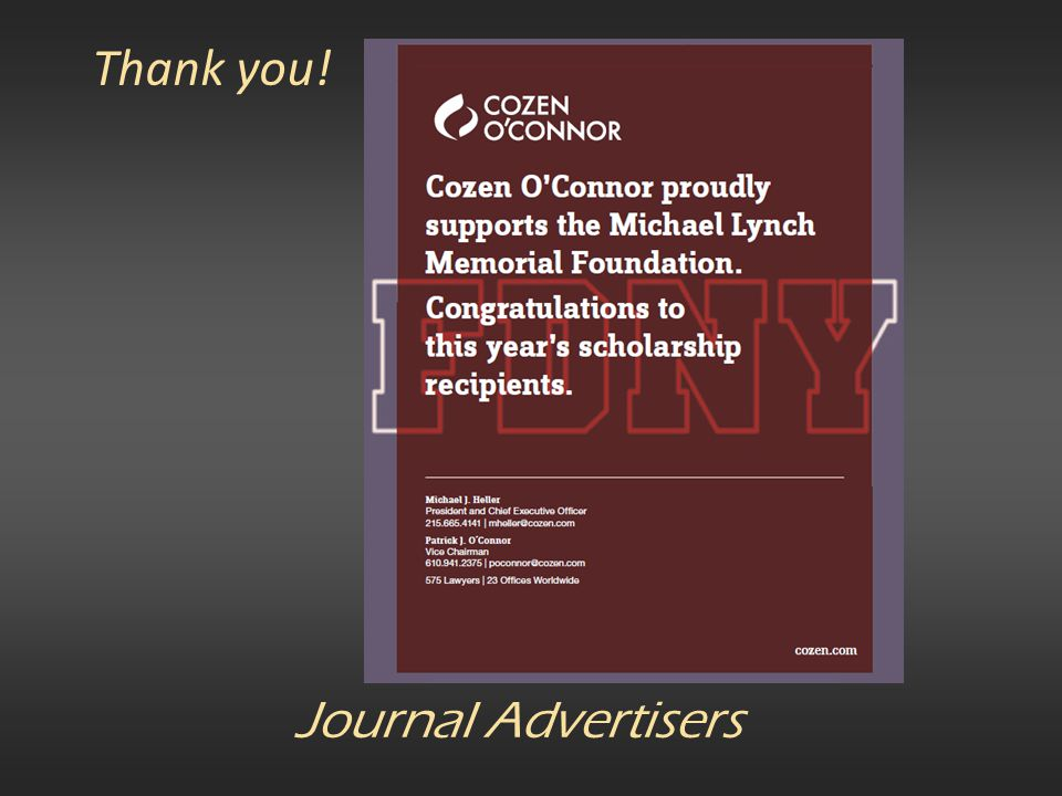Thank you! Journal Advertisers