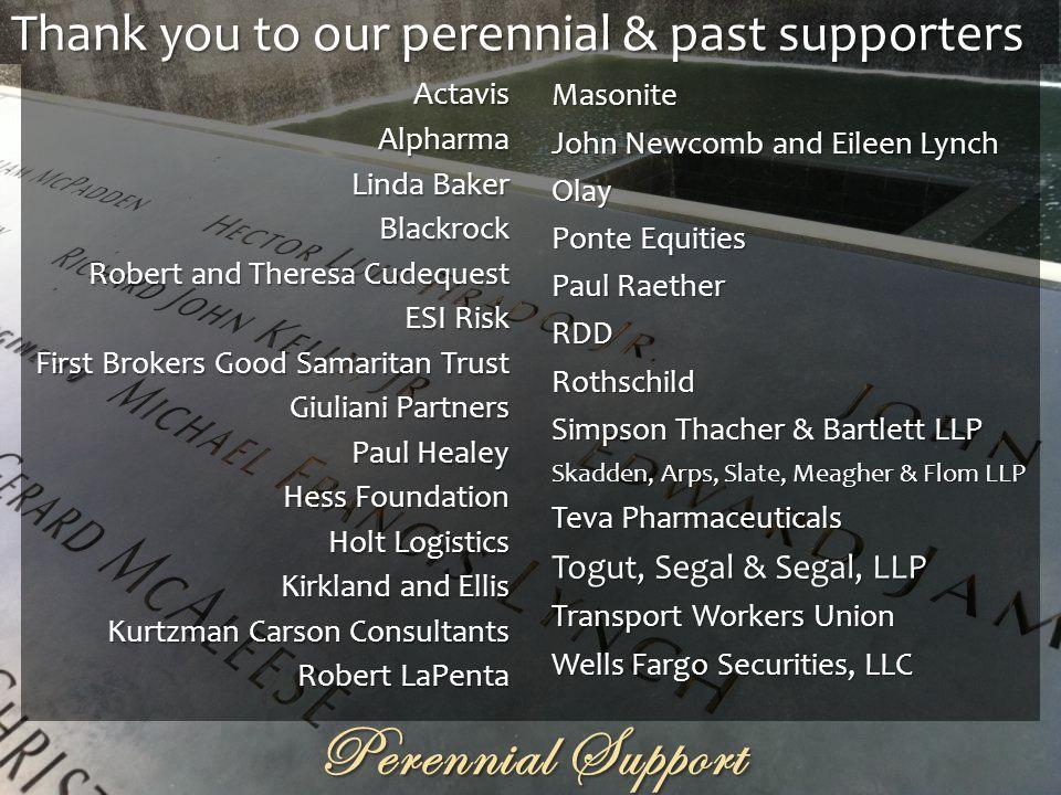 Perennial Support ActavisAlpharma Linda Baker Blackrock Robert and Theresa Cudequest ESI Risk First Brokers Good Samaritan Trust Giuliani Partners Pau