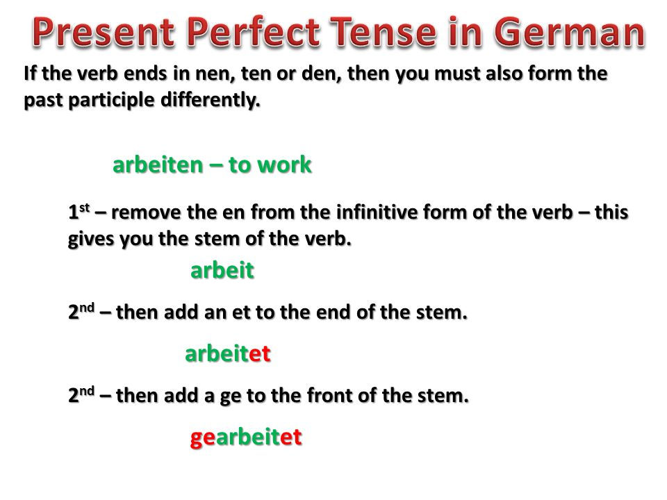 If the verb ends in nen, ten or den, then you must also form the past participle differently.