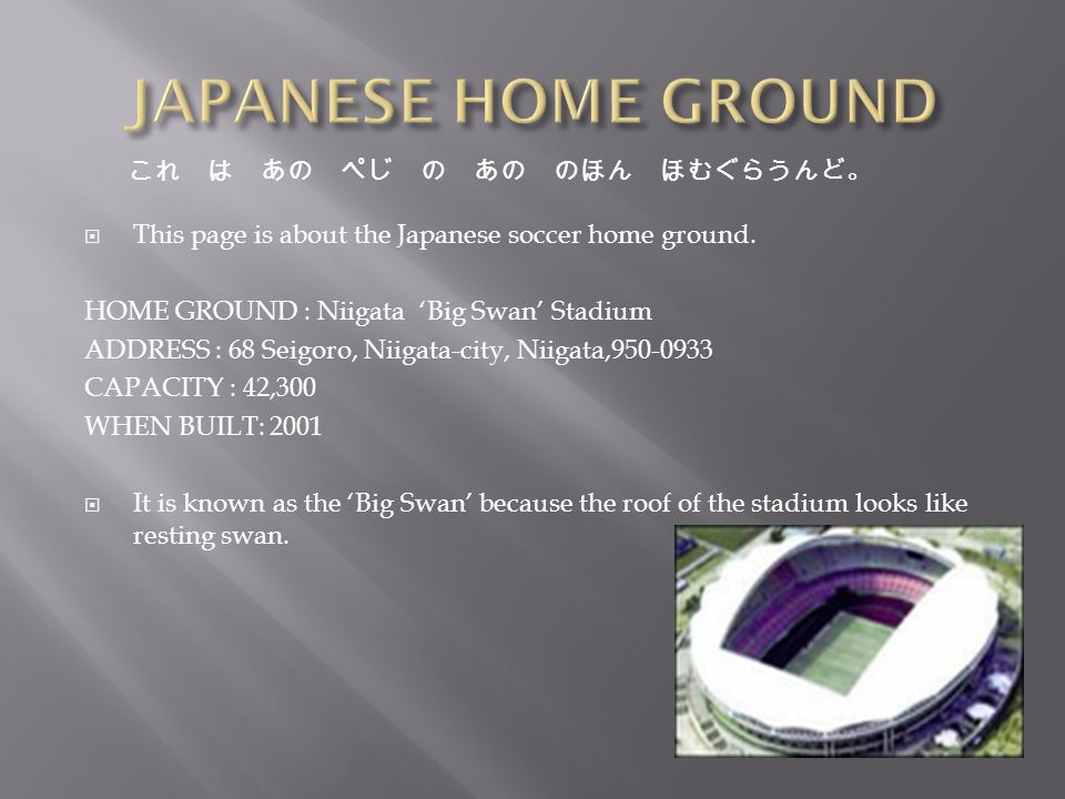 hhttp://web.mit.edu/21f.066/www/mhori/soccer.html hhttp://www.soccerphile.com/soccerphile/news/j-league/j-league- stadiums.html hhttp://www.athleticscholarships.net/history-of-soccer.htm hhttp://www.soccerrules.org/ hhttp://www.soccerassociation.com/42/ hhttp://web.mit.edu/21f.066/www/mhori/soccer.html hhttp://en.wikipedia.org/wiki/Japan_Soccer_League hhttp://www.wsoccer.com/history_and_rules/law7.htm These are the references I went on to find all the information.