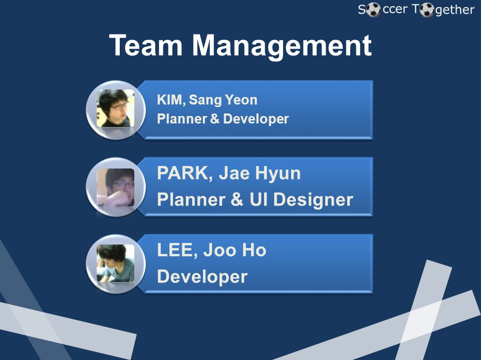 Team Management KIM, Sang Yeon Planner & Developer PARK, Jae Hyun Planner & UI Designer LEE, Joo Ho Developer