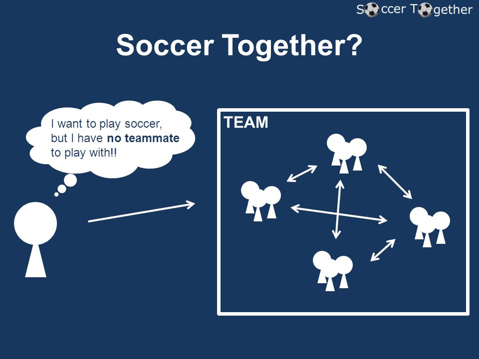 Soccer Together? TEAM I want to play soccer, but I have no teammate to play with!!