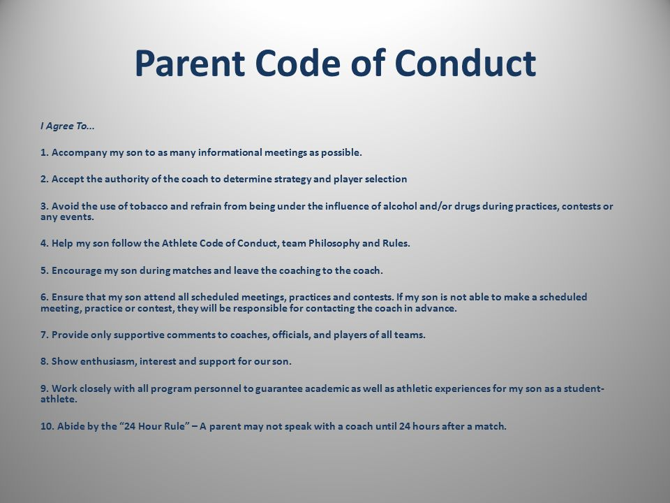 Coach Code of Conduct I Agree To...1. Exercise model sportsmanship 100% on and off the field.