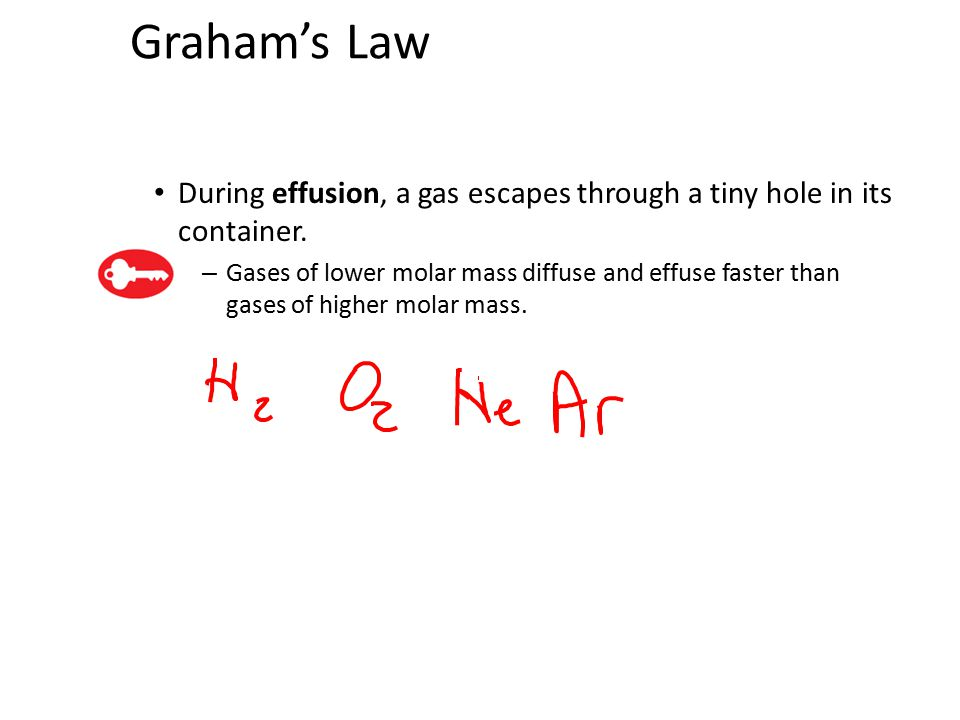 Graham's Law During effusion, a gas escapes through a tiny hole in its container. – Gases of lower molar mass diffuse and effuse faster than gases of