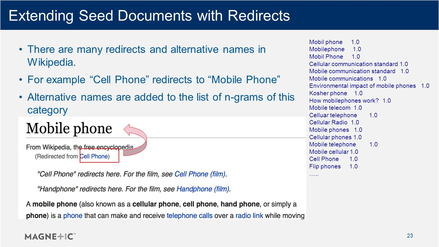 Extending Seed Documents with Redirects 23 There are many redirects and alternative names in Wikipedia.