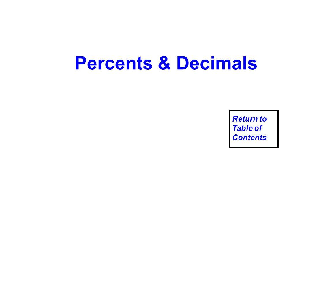 Percents & Decimals Return to Table of Contents