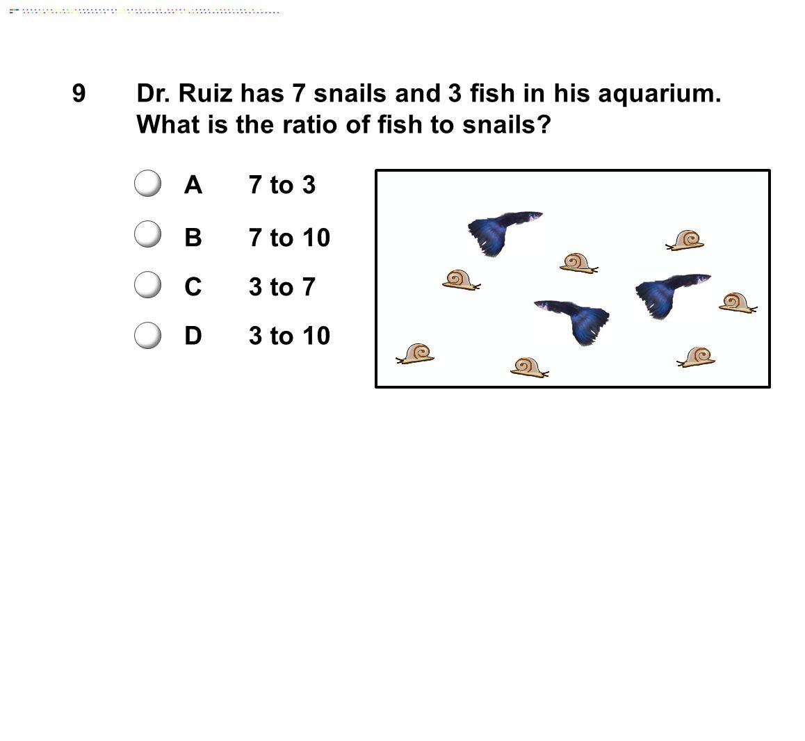 9Dr.Ruiz has 7 snails and 3 fish in his aquarium.