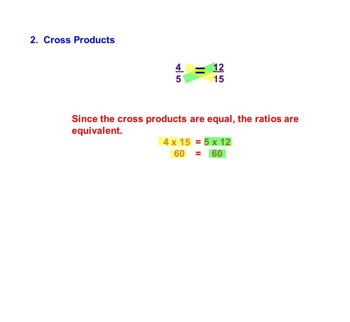 4 12 5 15 Since the cross products are equal, the ratios are equivalent.
