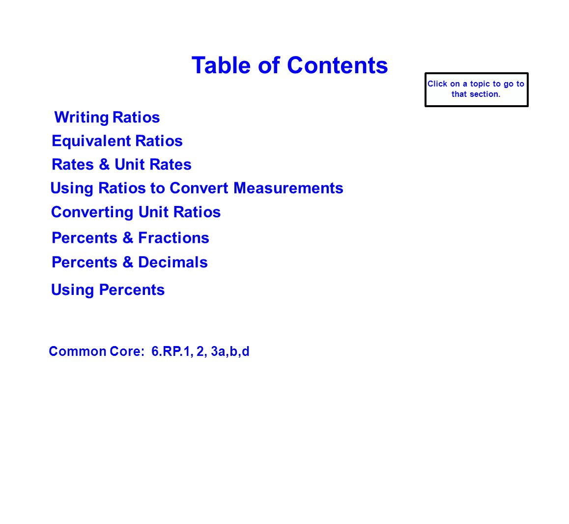 Table of Contents Writing Ratios Converting Unit Ratios Rates & Unit Rates Common Core: 6.RP.1, 2, 3a,b,d Using Ratios to Convert Measurements Equivalent Ratios Percents & Fractions Percents & Decimals Using Percents Click on a topic to go to that section.