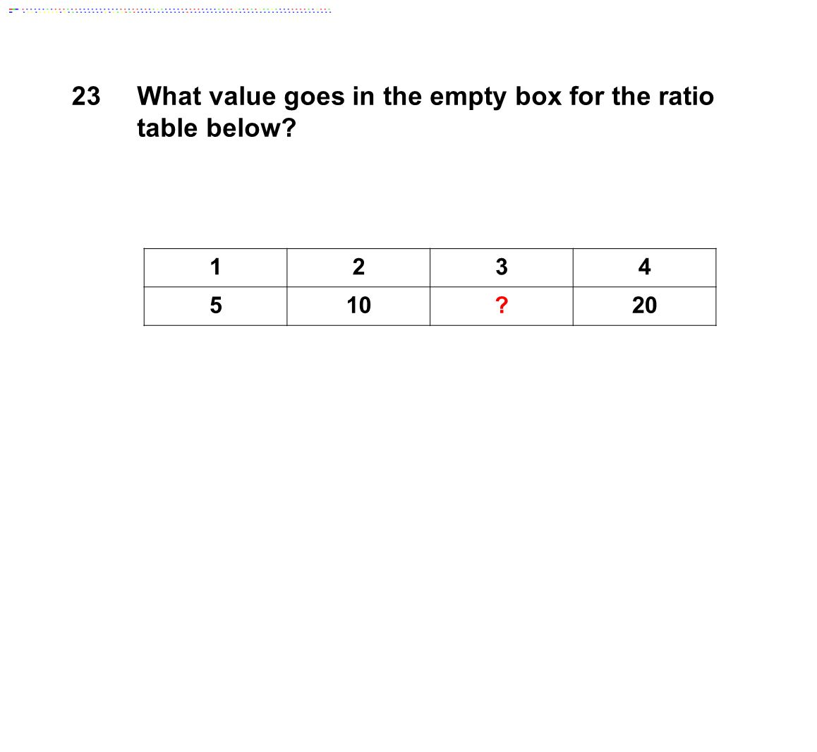 23What value goes in the empty box for the ratio table below 1234 510 20