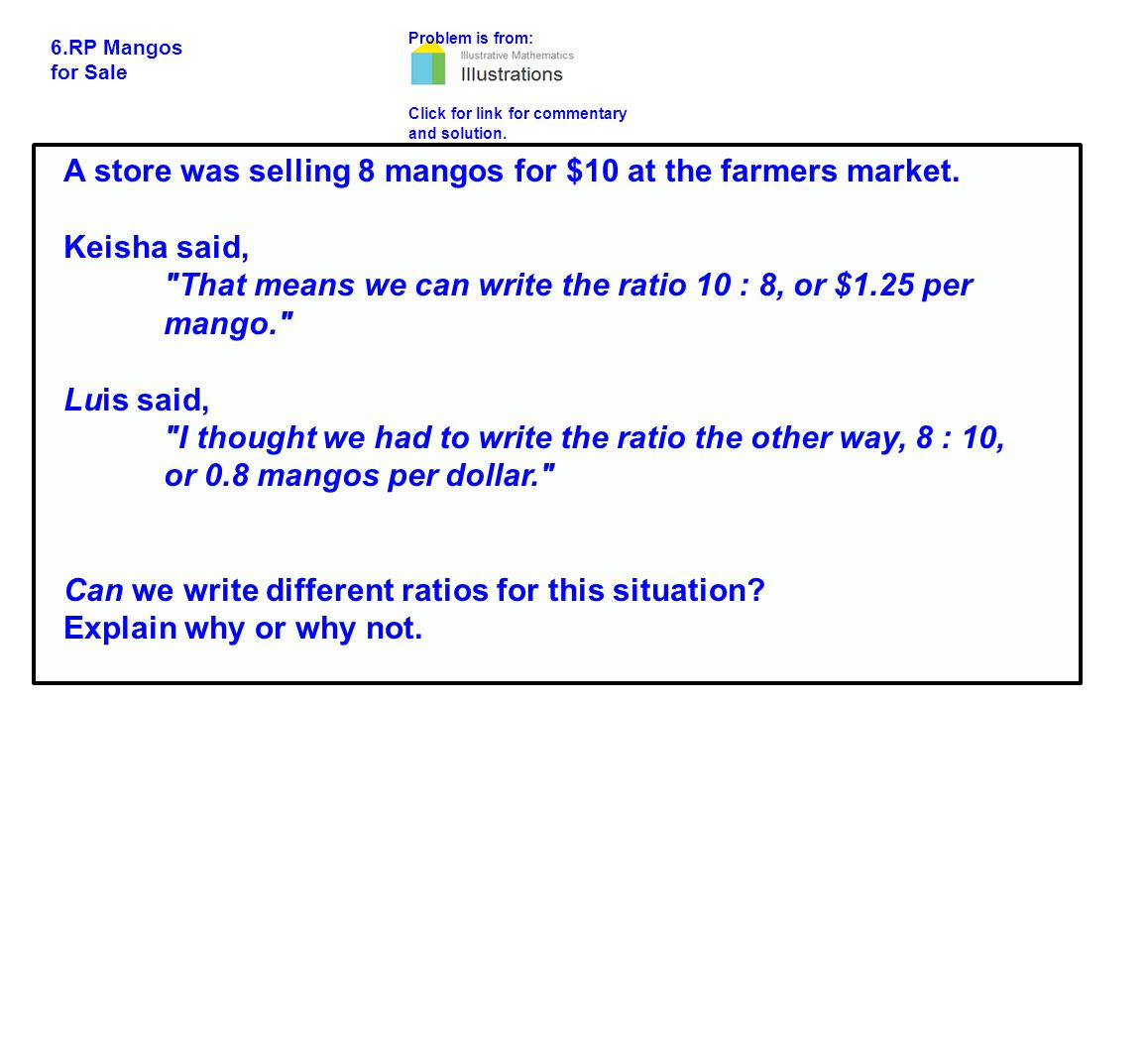 Problem is from: Click for link for commentary and solution.
