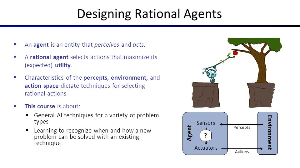 Designing Rational Agents  An agent is an entity that perceives and acts.  A rational agent selects actions that maximize its (expected) utility. 