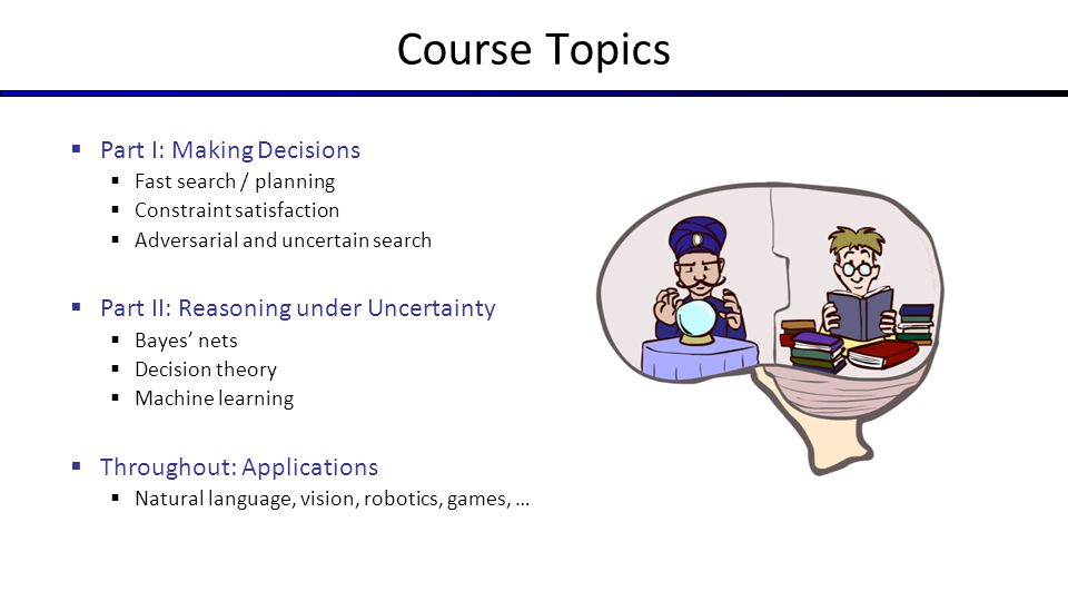Course Topics  Part I: Making Decisions  Fast search / planning  Constraint satisfaction  Adversarial and uncertain search  Part II: Reasoning un