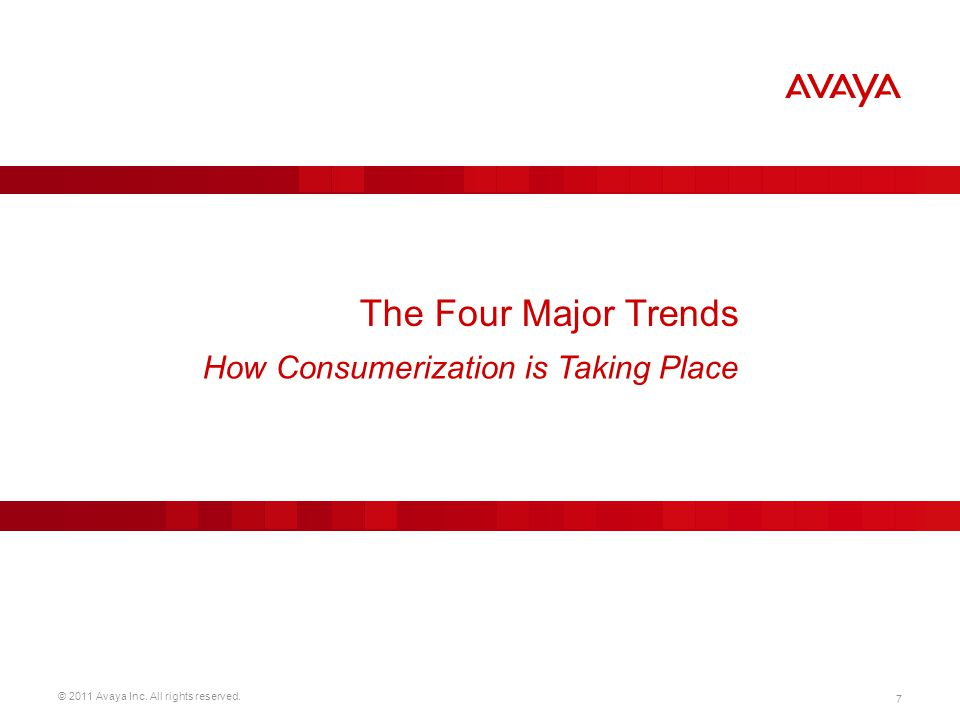 © 2011 Avaya Inc. All rights reserved. 7 The Four Major Trends How Consumerization is Taking Place