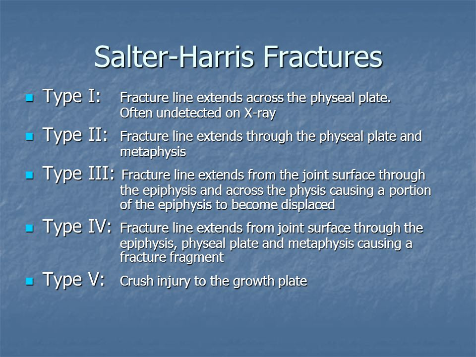 Salter-Harris Fractures Type I: Fracture line extends across the physeal plate. Often undetected on X-ray Type I: Fracture line extends across the phy