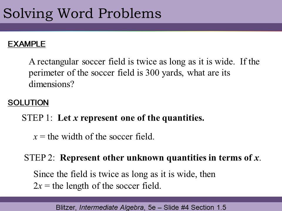 Solving word problems in algebra