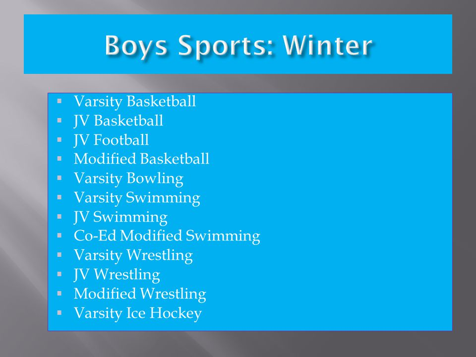  Varsity Cheerleading  JV Cheerleading  Varsity Cross Country  Varsity Soccer  JV Soccer  Modified Soccer  Varsity Swimming  JV Swimming  Varsity Tennis  JV Tennis  Varsity Volleyball  JV Volleyball  Modified Volleyball