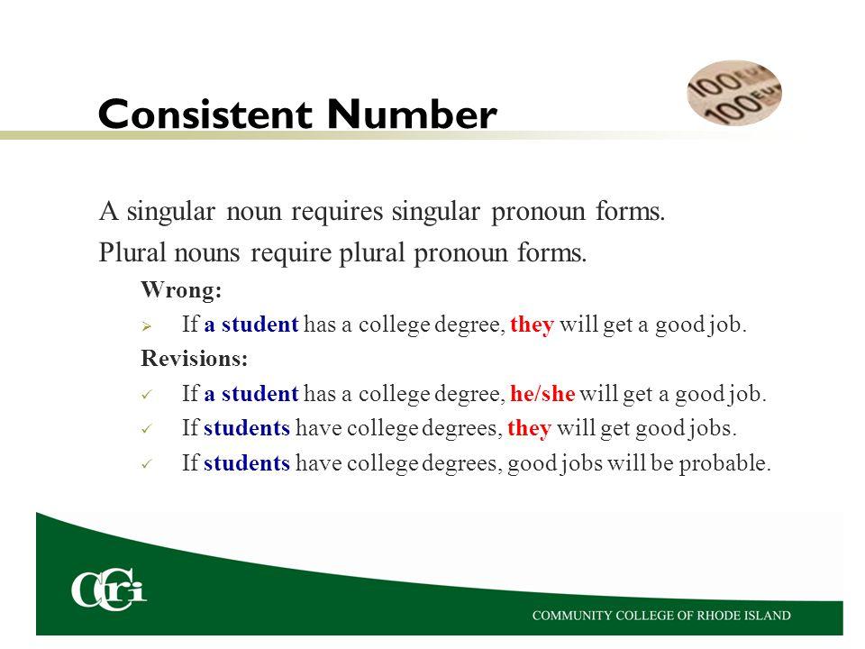 Consistent Number A singular noun requires singular pronoun forms.