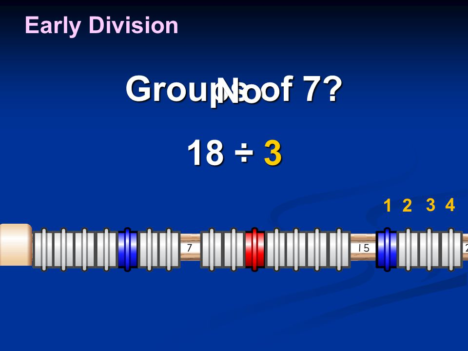 Groups of 7? 18 ÷ 3 Early Division 1 2 34 No