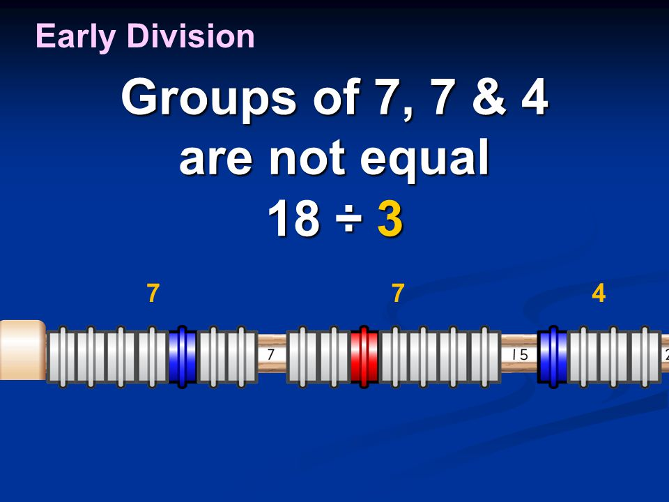Groups of 7, 7 & 4 are not equal 18 ÷ 3 Early Division 774