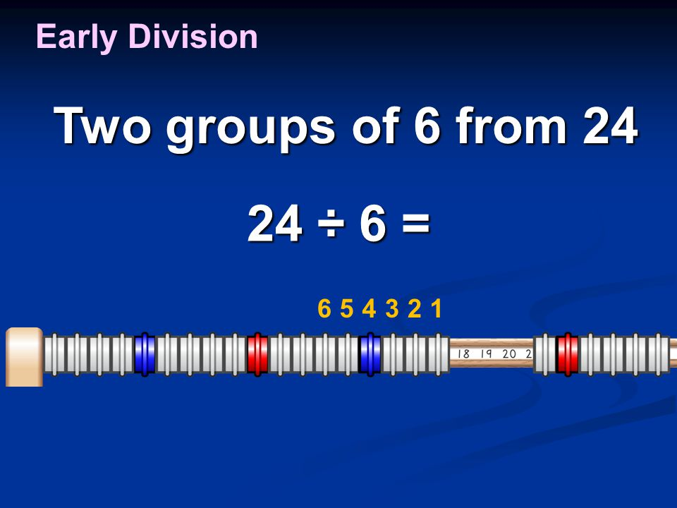 24 ÷ 6 = Early Division Two groups of 6 from 24 Two groups of 6 from 24 123456