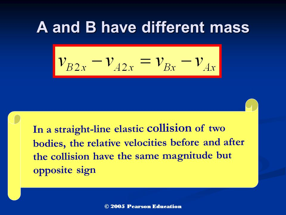 A and B have different mass In a straight-line elastic collision of two bodies, the relative velocities before and after the collision have the same magnitude but opposite sign © 2005 Pearson Education