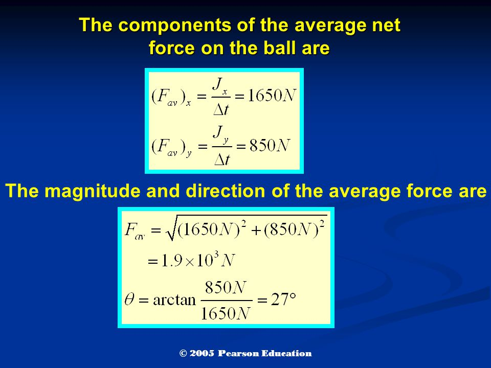 The components of the average net force on the ball are The magnitude and direction of the average force are © 2005 Pearson Education