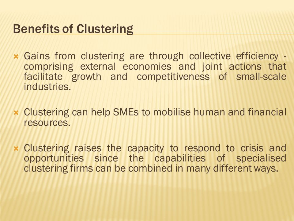  Gains from clustering are through collective efficiency - comprising external economies and joint actions that facilitate growth and competitiveness of small-scale industries.