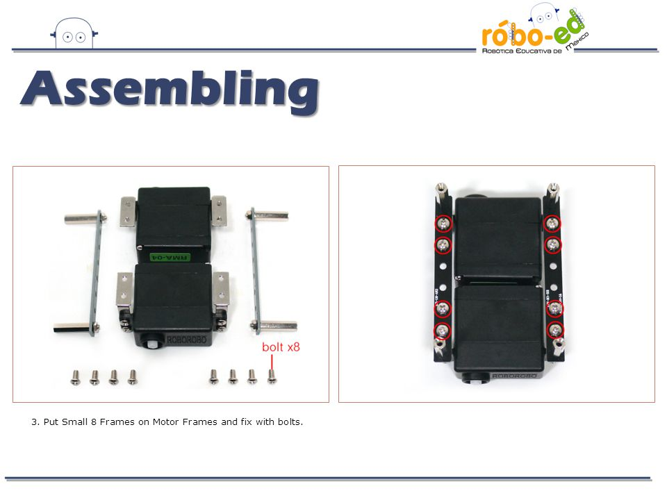 4. Fix Remocon Receiving Board and DC Motor Drive Board with bolts and nuts. Assembling