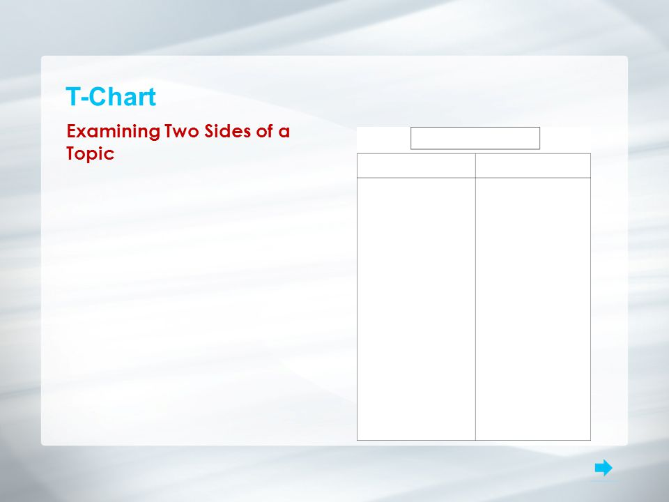 T-Chart Examining Two Sides of a Topic