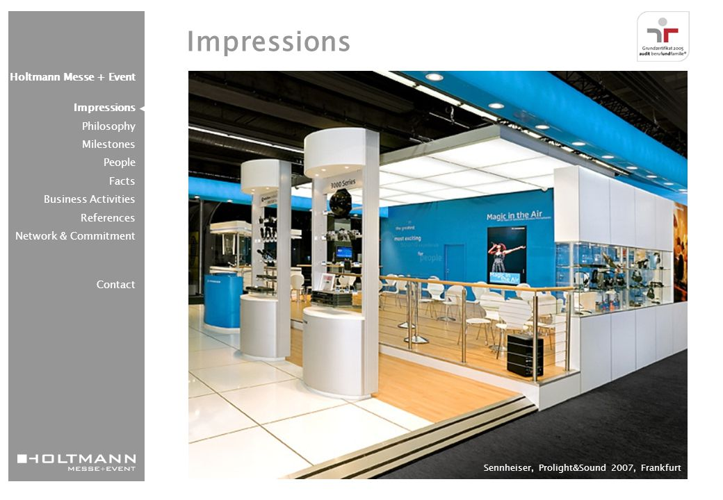 """Adidas """"walk of fame , Adi Dassler Brand Center, Herzogenaurach Holtmann Messe + Event Impressions Philosophy Milestones People Facts Business Activities References Network & Commitment Contact Impressions"""