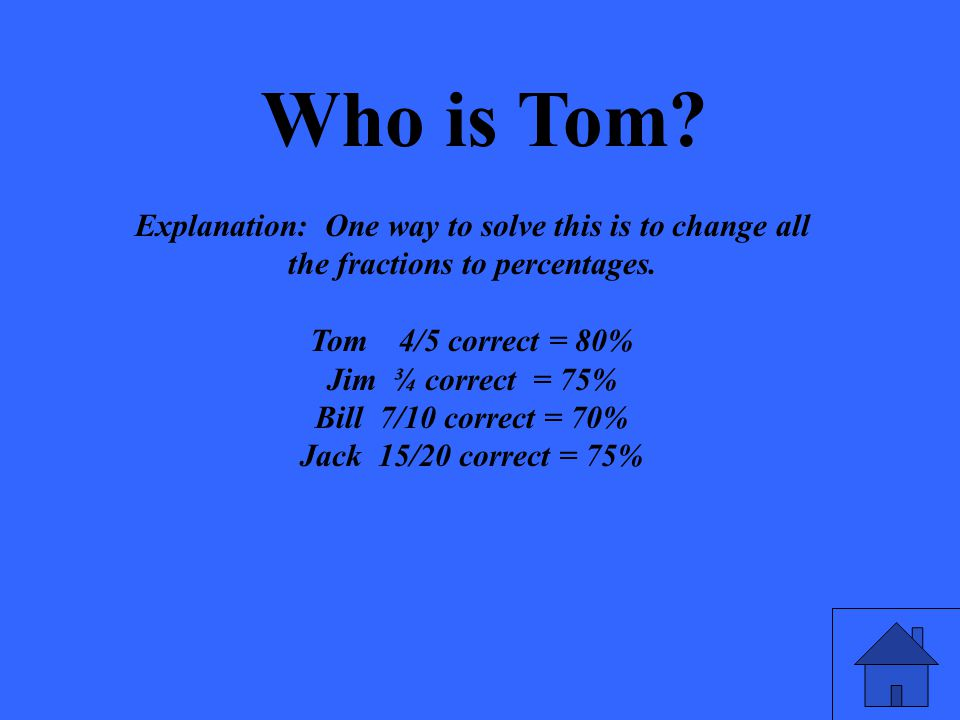 Who is Tom. Explanation: One way to solve this is to change all the fractions to percentages.