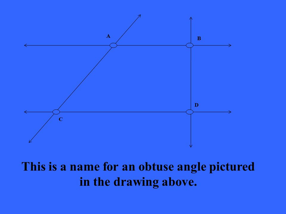 A B C D This is a name for an obtuse angle pictured in the drawing above.