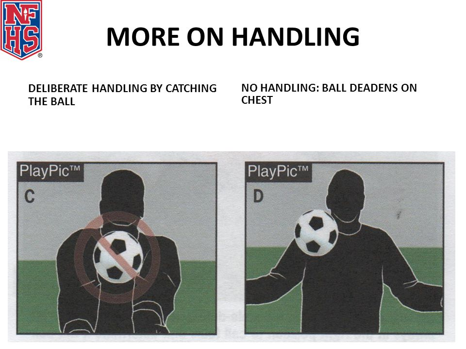 MORE ON HANDLING DELIBERATE HANDLING BY CATCHING THE BALL NO HANDLING: BALL DEADENS ON CHEST