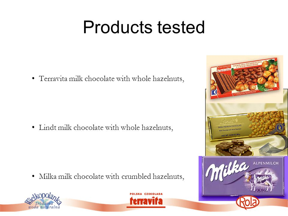 Products tested Terravita milk chocolate with whole hazelnuts, Lindt milk chocolate with whole hazelnuts, Milka milk chocolate with crumbled hazelnuts,